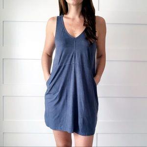 Suede-Like Dusty Blue Dress